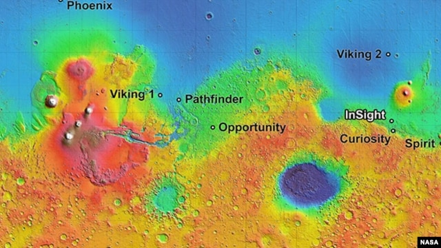 The four semifinalist sites located close together in the Elysium Planitia region of Mars. The mission known by the acronym InSight will study the Red Planet's interior.
