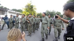 FILE PHOTO - Armed authority was deployed near the National Assembly blocking unionists and workers from protesting on Labor Day, Phnom Penh, Cambodia, May 1, 2017. (Khan Sokummono/VOA Khmer