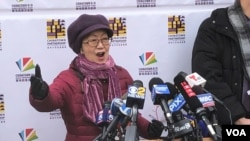 紐約市議會議員陳倩雯對媒體講話。(2020年2月12日)