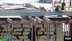 러시아 블라디보스토크 건설 현장에 파견된 북한 노동자들 (자료사진).