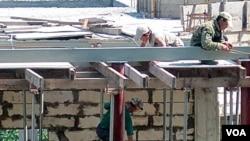 러시아 블라디보스토크 건설 현장의 북한 노동자들. (자료사진).