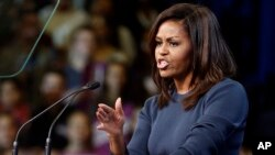 First lady Michelle Obama speaks during a campaign rally for Democratic presidential candidate Hillary Clinton in Manchester, New Hampshire, Oct. 13, 2016.