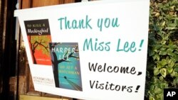"A sign welcomes book fans to Monroeville, Alabama, the hometown of ""To Kill a Mockingbird"" author Harper Lee, July 8, 2015."