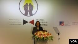 台灣總統蔡英文在2019區域宗教自由論壇上講話(美國之音張永泰拍攝)