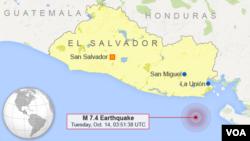 Trận động đất đo dược 7,4 độ trên địa chấn kế xảy ra trong biển Thái Bình Dương ở độ sâu 70km, cách thủ đô San Salvador khoảng 169km về hướng đông nam.