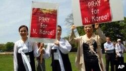 탈북자들의 북한 인권촉구 시위 (자료사진)