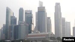 싱가포르 마리나 베이 인근 스카이라인.