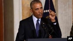 President Barack Obama speaks at the Treasury Department in Washington, Tuesday, June 14, 2016.