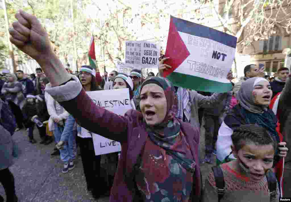 Pro-Palestinian protesters rally against Israel, in Sydney, July 13, 2014.