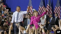Prezidan Barack Obama ak Kandida Demokrat la, Hillary Clinton (Foto Achiv).