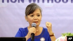 Vice President of the Cambodia National Rescue Party (CNRP), Mu Sochua speaks at a press conference in Jakarta, Indonesia.