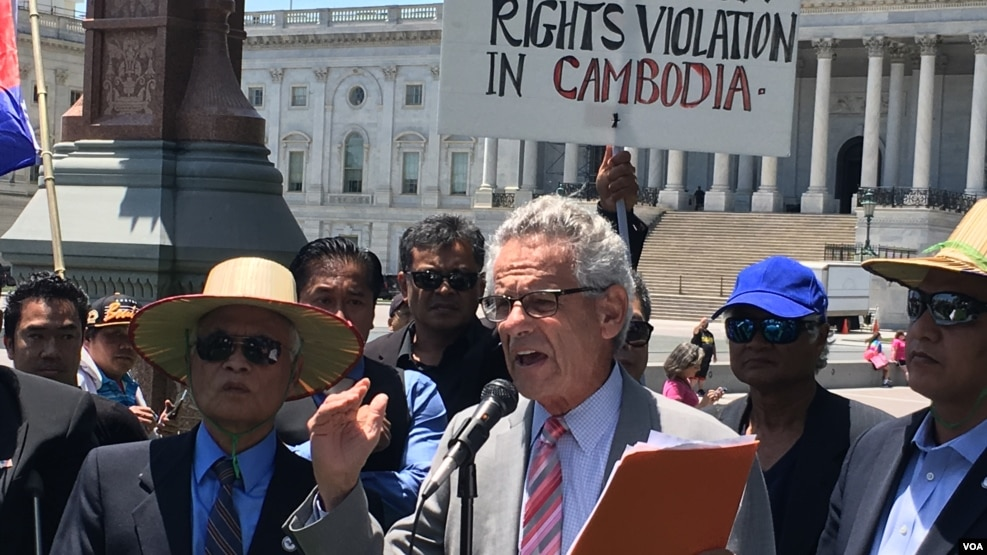 Rep. Alan Lowenthal (D-CA) ​addresses Cambodian-American protesters who called for the United States' intervention to put an end to human rights violations in Cambodia, Washington D.C., Friday June 10, 2016.