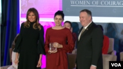 Melania Trump and Mike Popmeo with Armenian journalist Lucy Kocharyan - 2020 Women of Courage winner