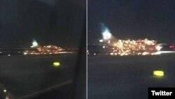 """Los bomberos fueron llamados a la escena después de que """"las llamas salieran del motor del avión""""."""