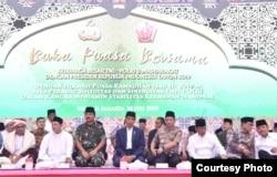 Presiden Joko Widodo bersama Panglima TNI Marsekal Hadi Tjahjanto dan Kapolri Jenderal Tito Karnavian di lapangan Monas, Jakarta, Kamis (16/5). (Foto: Setneg RI)