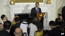 Presiden AS Barack Obama mengadakan jamuan Iftar atau Buka Puasa di Gedung Putih tahun lalu (10 Agustus 2012).