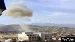Дым над посольством Китая. Бишкек. Кыргызстан. 30 августа 2016.