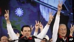 图为马英九1月14日胜选后宣布胜利