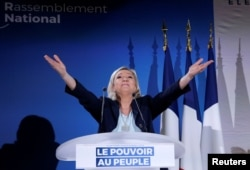 French far-right National Rally (Rassemblement National) party leader Marine Le Pen attends a meeting in Saint-Paul-du-Bois, France, Feb. 17, 2019.