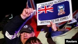 Falkland islanders react after hearing the results of the referendum in Stanley, March 11, 2013.