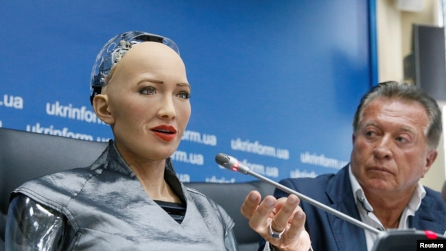 In this file photo, Hanson Robotics' latest and most advanced robot Sophia attends a news conference after a meeting with young inventors and officials in Kiev, Ukraine October 11, 2018. (REUTERS/Valentyn Ogirenko )