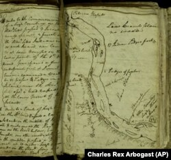 "William Clark's ""elkskin journal"" that he used to record notes during the Lewis and Clark expedition from Sept. 11, 1805 to Dec. 31, 1805. (AP Photo/Charles Rex Arbogast)"