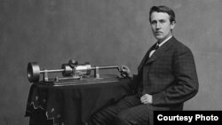 Thomas Edison poses with his phonograph in the Washington D.C., studio of famed US Civil War photographer Mathew Brady. (Wikipedia Commons)