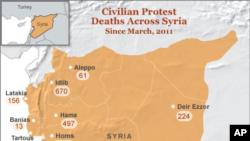 시리아 유혈사태로 인한 민간인 사망자 통계