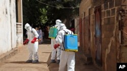 FILE - Health workers spray disinfectant around a mosque in Bamako, Mali, Nov. 14, 2014