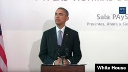 아르헨티나를 방문 중인 바락 오바마 미국 대통령이 24일 쿠데타 발발 40주년 기념식이 열린 부에노스아이레스에서 기자회견을 하고 있다.
