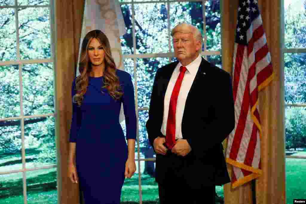 مجسمه مومی پرزیدنت ترامپ و بانوی اول در موزه مادام توسو در نیویورک