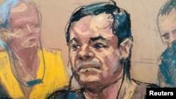 "Croquis de Joaquin ""El Chapo"" Guzman, lors de sa comparution devant le palais de justice fédéral de Brooklyn à New York, 5 mai 2017."