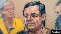 """Sketsa Joaquin """"El Chapo"""" Guzman, dalam persidangan di Gedung Pengadilan Federal Brooklyn di New York, 5 Mei 2017."""