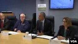 Prezidan Barack Obama nan konferans pou laprès sou Siklòn Matthew. (Foto: Mèkredi 5 oktòb 2016).