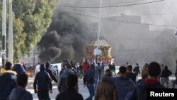 Escarmouches entre manifestation et policiers à Ben Guerdane, Tunise, 12 janvier 2017.