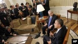 美國總統奧巴馬和以色列總理內塔尼亞胡在白宮就伊朗核問題舉行會談與媒體見面