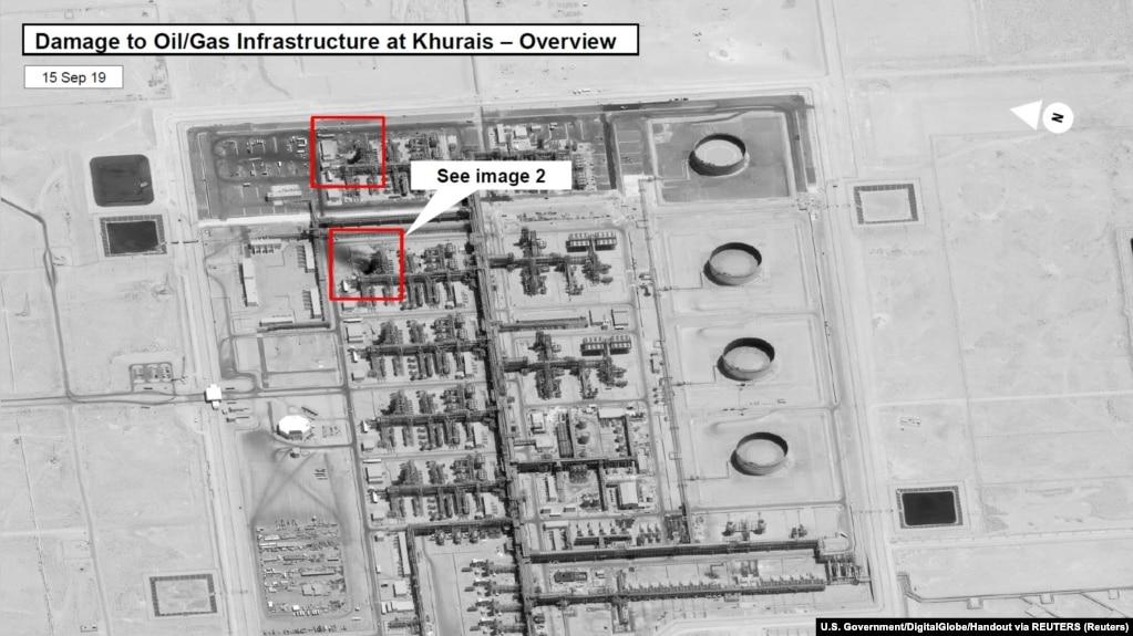 Hình vệ tinh các cơ sở dầu mỏ Khurais sau khi bị tấn công.