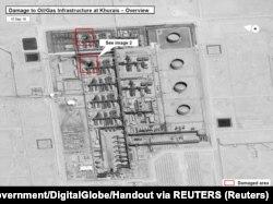 Saudi Arabia, A satellite image showing damage to oil/gas Saudi Aramco infrastructure at Khurais