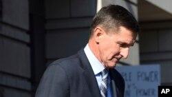 FILE - Former Trump national security adviser Michael Flynn leaves federal court in Washington, Dec. 1, 2017.
