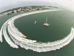 Racing powerboats make a turn in Key West Harbor