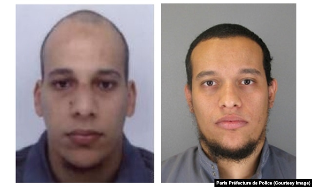 Brothers Chérif Kouachi, left, and Said Kouachi, right, appear in photos released by police in Paris..