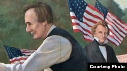 تصویری از مناظرۀ آبراهام لینکلن و استیون داگلاس