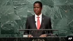 FILE - Zambia's President Edgar Lungu speaks during the 71st session of the United Nations General Assembly at U.N. headquarters, Sept. 20, 2016.