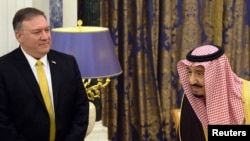 Menteri Luar Negeri AS, Mike Pompeo bersama Raja Salman di Riyadh, Arab Saudi, 14 Januari 2019.