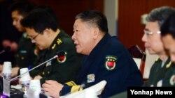지난 1월 서울 국방부에서 열린 '한중 국방정책실무회의'에서 중국 측 수석대표인 관요페이 국방부 외사판공실 주임이 인사말을 하고 있다. (자료사진)