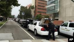 加州大学洛杉矶分校校园枪击案现场的警察。(2016年6月1日)