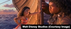 Moana insists the demigod Maui teach her to sail.
