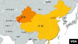 新疆及喀什地區地理位置圖。