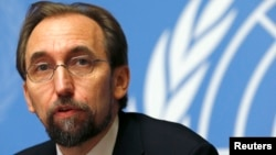 Cao ủy trưởng về Nhân quyền của Liên Hiệp Quốc Zeid Ra'ad al-Husseintại nói chuyện tại một cuộc họp báo ở Geneve
