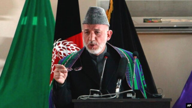 Afghan President Hamid Karzai, speaking at the National Military Academy in Kabul, March 22, 2011